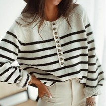 New white striped long sleeve women sweater oversized jumper winter pull... - $43.00