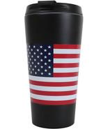 US Flag Travel Coffee Mug Insulated Cup 16oz Black Thermos Red White Blu... - $14.99