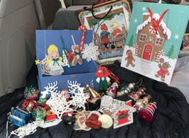RANDOM Lot of 20+ Handmade & Not Handmade Christmas Ornaments FREE BOX - $19.78