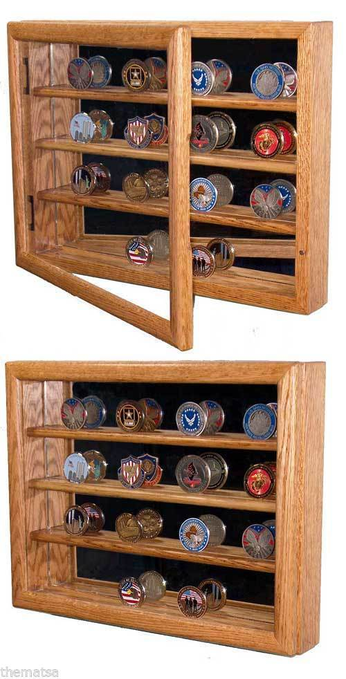 Primary image for CHALLENGE COIN COLLECTOR WALL HANGING SOLID OAK WOOD DISPLAY CASE