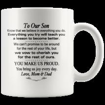 Custom 11oz Coffee Mug To Our Son Graduation, Birthday, Wedding, Christmas Gift - $19.95