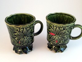 Holly Poinsettia Pedestal Coffee Mugs Green Lefton (?) lot of 2 Hot Choc... - $9.49