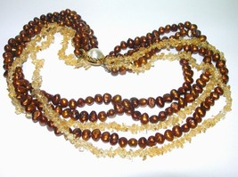 LARGE HEAVY 5 STRANDS BROWN PEARLS CITRINE CHIP GEMSTONE BEADED NECKLACE... - $150.00