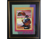 Peter Max Umbrella Man on Blends Mixed Media Acrylic Painting Hand Signed w/COA - $2,956.50