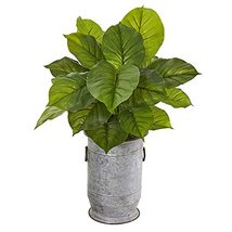 """32"""" Large Philodendron Plant in Vintage Metal Planter (Real Touch) - $135.68"""