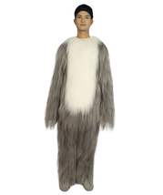 Furry Dog Collection | Men's White and Grey Straight Long Furry Dog Costume with - $122.85