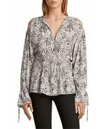 AllSaints Lavete Paisley Print Cold-Shoulder Top, White, Large - $148.49