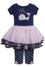 Bonnie Baby Baby Girl 3M-9M Navy-blue Pink Sequin Whale Applique Dress/legging