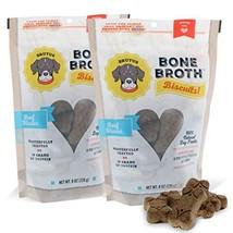 Bone Broth Dog Treats, 16 oz Beef Biscuits 2 Pouches, High Protein Glucosamine &