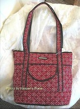 Longaberger Blushing Hearts Quilted Deep Red Black Faux Leather Zippered... - $28.00