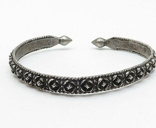 925 Silver - Vintage Antique Sculpted Floral Pattern Point Cuff Bracelet - B4850