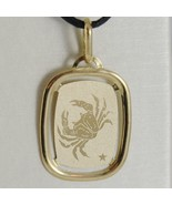 SOLID 18K YELLOW GOLD CANCER ZODIAC SIGN MEDAL PENDANT, ZODIACAL, MADE IN ITALY - $165.69