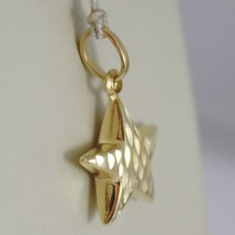 18K YELLOW GOLD ROUNDED STAR PENDANT CHARM 20 MM WORKED & SMOOTH, MADE IN ITALY image 2