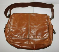 Fossil Brown Leather Cross Body Messenger Book Laptop Bag - $54.00