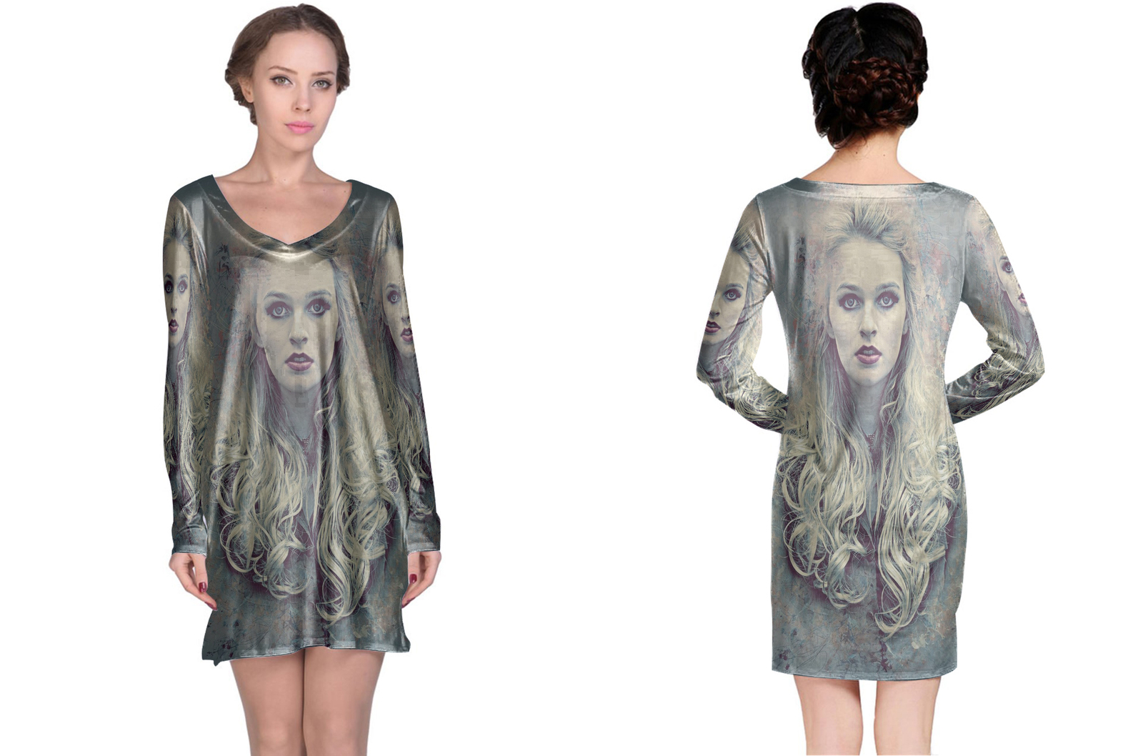 Retro art photoshop action long sleeve night dress