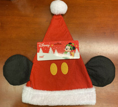 Disney mickey mouse christmas santa hat with ears NWT red white fur  - $15.84