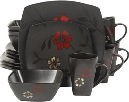 Square 16 Piece Dinnerware Set Gibson Service For 4 Dinner Salad Plates ... - $55.37