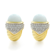 David Yurman 18K Yellow Gold Diamond & Blue Chalcedony Earrings - $2,500.00