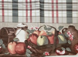 "FLANNEL BACK TABLECLOTH 60"" Round (4-6 people) APPLES ON TABLE, grey by BH - $17.81"