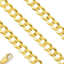 6.2mm Mens Stylish 14K YG Semi Solid Necklace Cuban Curb Chain All Sizes - $489.20+