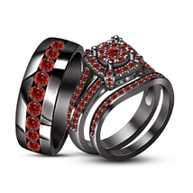 14k Black Gold Finish Red Garnet Band Engagement Men Women Trio Bridal R... - $146.19