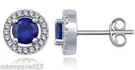 Created Blue Sapphire Round Solitaire Stud Earring Pave Set Sterling Sil... - $32.29