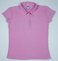 GAP WOMENS SIZE MEDIUM PINK RIBBED TOP COLLARED SHORT SLEEVED COTTON - $9.89