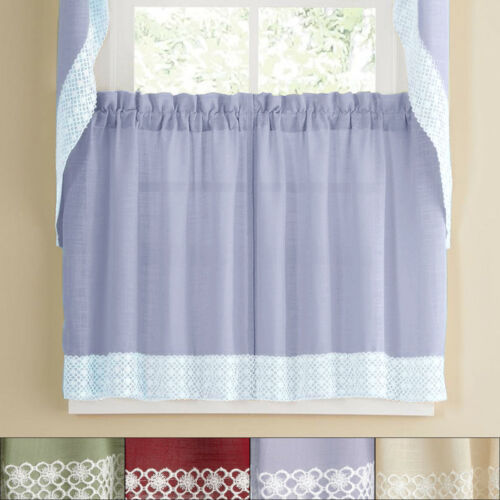 Primary image for Salem Kitchen Window Curtain w/ Lace Trim - 36 x 60 Tier Pair