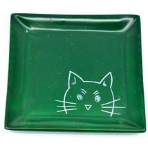 Tabaka Chigware Hand Carved Kisii Soapstone Cat Kitten Square Trinket Dish Kenya image 1