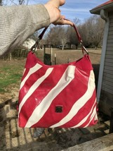 Dooney Bourke Patent Leather Canvas Pink Tote Purse Handbag Shoulder Bag - $25.00