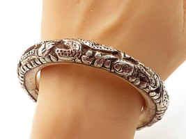 925 Silver - Vintage Antique Snake Patterned Wooden Bangle Bracelet - B7076 - $327.72