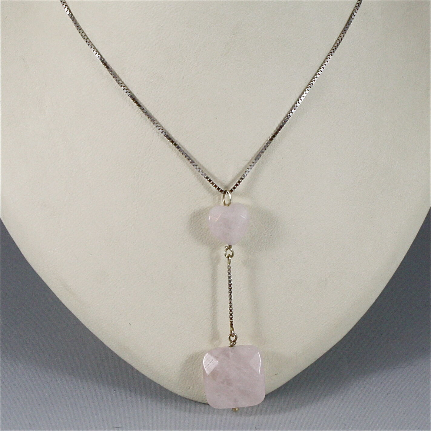18K WHITE GOLD NECKLACE WITH PENDANT, HEART ROSE QUARTZ, MADE IN ITALY