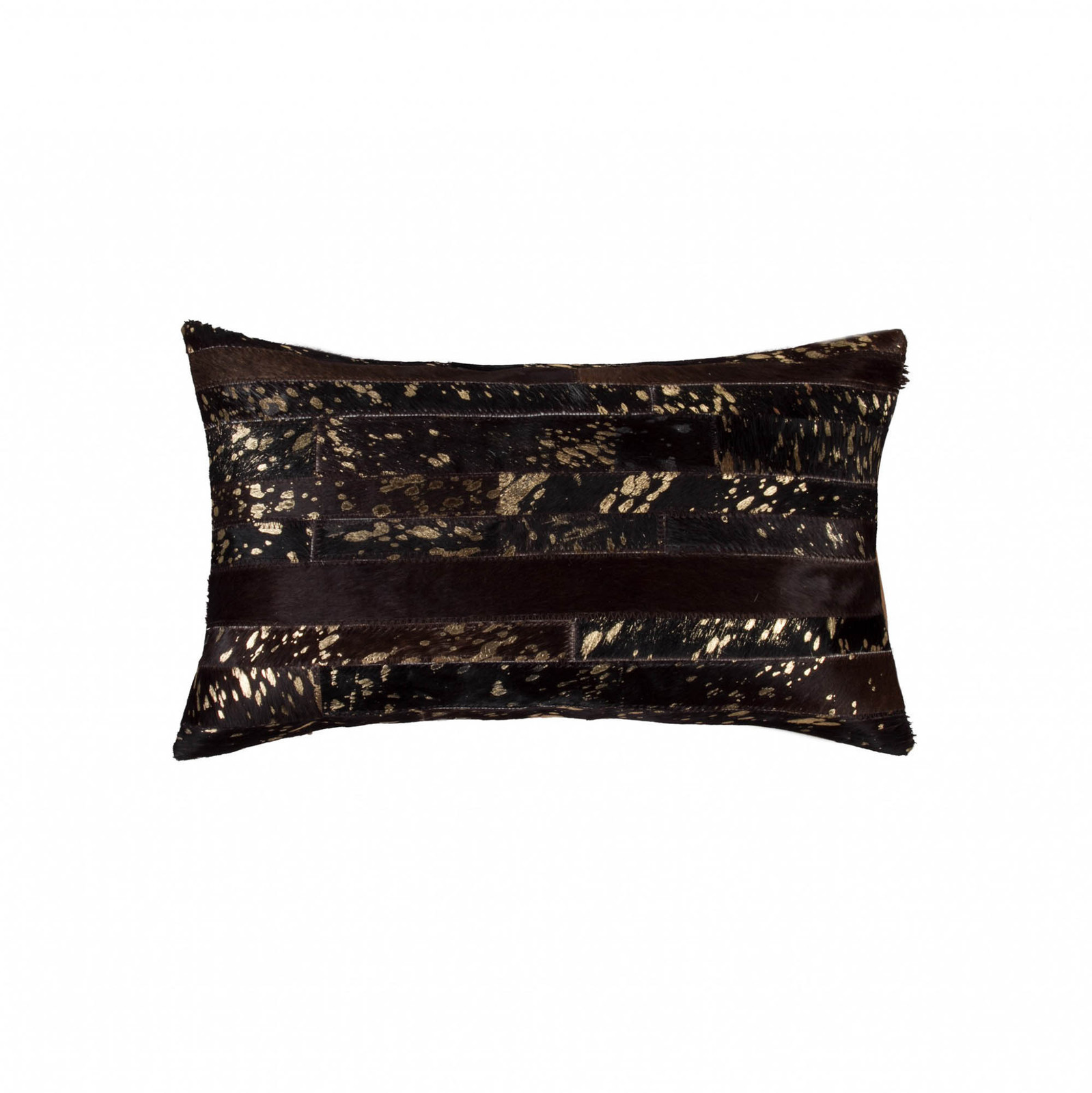 """HomeRoots Decor 12"""" X 20"""" X 5"""" Cowhide Throw Pillow -  Chocolate and Gold - $61.92"""