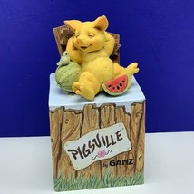 Pigsville by Ganz pig figurine nib box 1995 vintage sculpture resin melon patch - $29.65