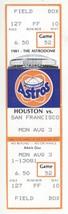 San Francisco Giants @ Houston Astros 8/3/81 Phantom Season Ticket Holde... - $2.96
