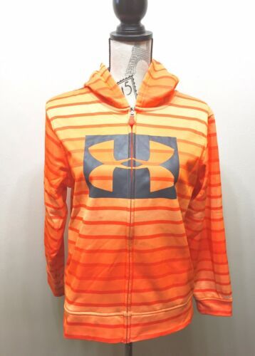 Under Armour Hoodie Sweatshirt Orange Stripe Youth Large
