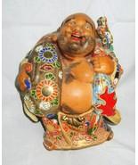 "Antique Japanese Hotei Buddha Figurine 7"" Tall Signed - $79.00"