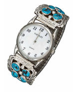 STERLING SILVER MENS SOUTHWEST WATCH WITH STABILIZED TURQUOISE NUGGET TIPS - $289.00