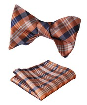 SetSense Men's Check Jacquard Wedding Party Self Bow Tie Pocket Square Set Orang - $24.54
