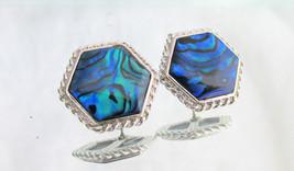 "Dainty Vintage Abalone Shell Hexagon Pierced Post 3/4"" Earrings Silver P... - $8.99"