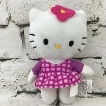 """Hello Kitty 6"""" Plush Wearing Purple Checkered Dress Stuffed Animal By Fi... - $7.91"""