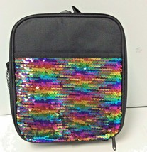 Insulated Lunch Box Reversible Sequin Kids Food Tote Bag with Pockets Ra... - $18.80