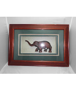 VTG Mahogany Rosewood Carved Elephant in a Framed Matte 3D Shadowbox Sha... - $49.50