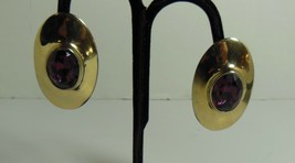 Gold Tone & Purple Large Statement Clip on Earrings - $10.89