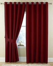 INTRICATE DIAMOND WAFFLE EFFECT JACQUARD RED LINED ANNEAU TOP CURTAINS 9... - $51.27+