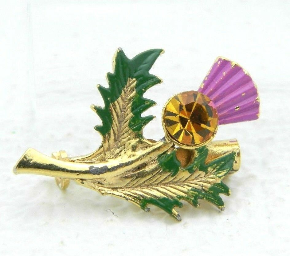 Vintage Topaz Rhinestone Purple Green Enamel Thistle Gold Tone Brooch Pin