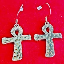 """Gold tone 1.25"""" pierced ankh earrings  in unwor... - $15.00"""