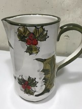 "Mistletoe Holiday Ceramic Small Pitcher  6 1/2"" H 9"" Diameter Italy - $9.41"