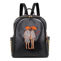 Black Women Backpack Embroidery School Shoulder Bag Fashion Travel Girls... - $21.99