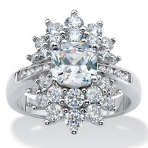 3.22 TCW  Cushion-Cut Cubic Zirconia Sterling Silver Cluster Starburst Ring - $38.82